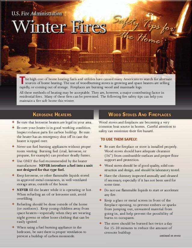 Winter fire safety safety tips for your home for Fire prevention tips for home
