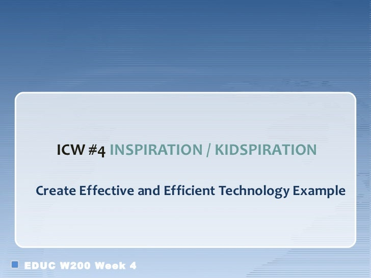 ICW #4 INSPIRATION / KIDSPIRATION Create Effective and Efficient Technology ExampleEDUC W200 Week 4