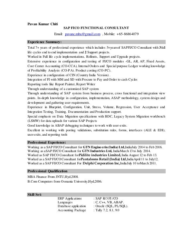 Gallery Images Of Sap Basis Resume Sample Module Resume Sap Resume