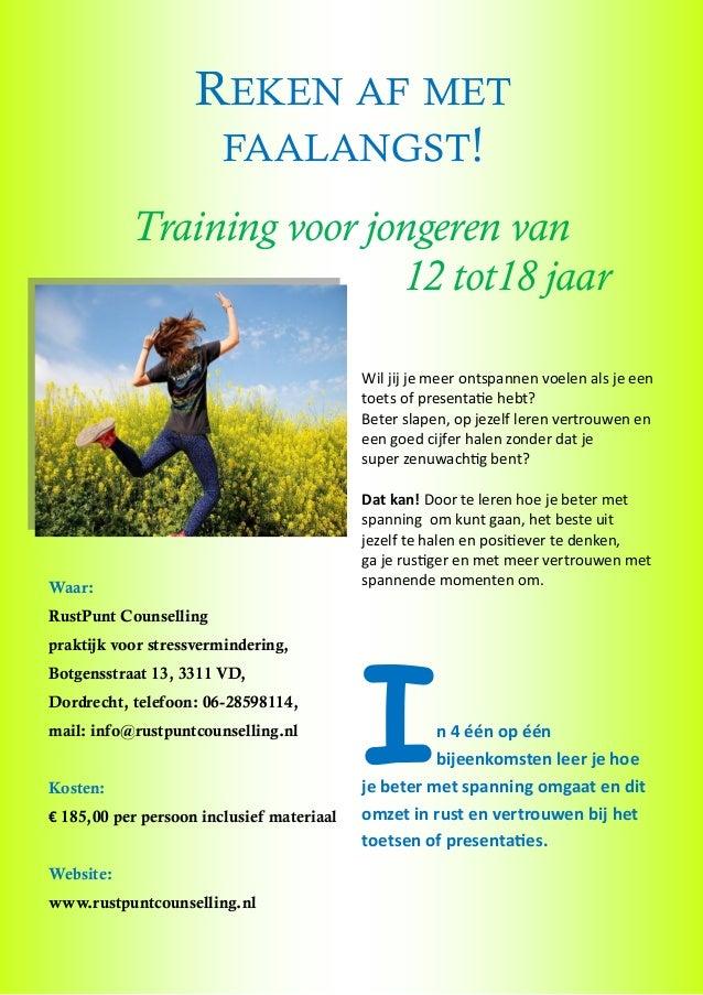 Faalangsttraining voor jongeren van 12 tot 18 in Dordrecht