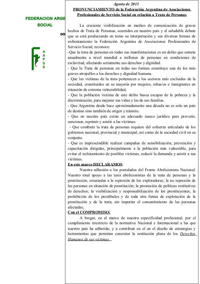 DOMICILIO LEGAL: JUJUY NRO. 330 - PB (5000) Córdoba –República Argentina FEDERACION ARGENTINA DE ASOCIACIONES PROFESIONALE...