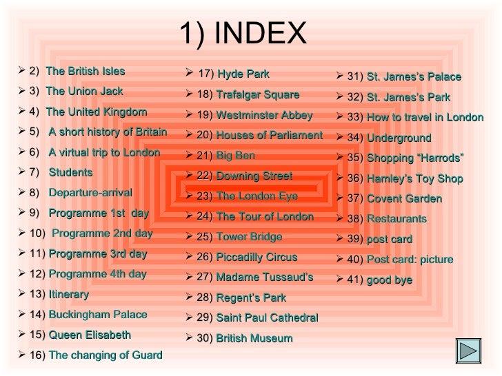 1) INDEX <ul><li>2)  The  British   Isles </li></ul><ul><li>3)  The Union Jack </li></ul><ul><li>4)  The  United   Kingdom...