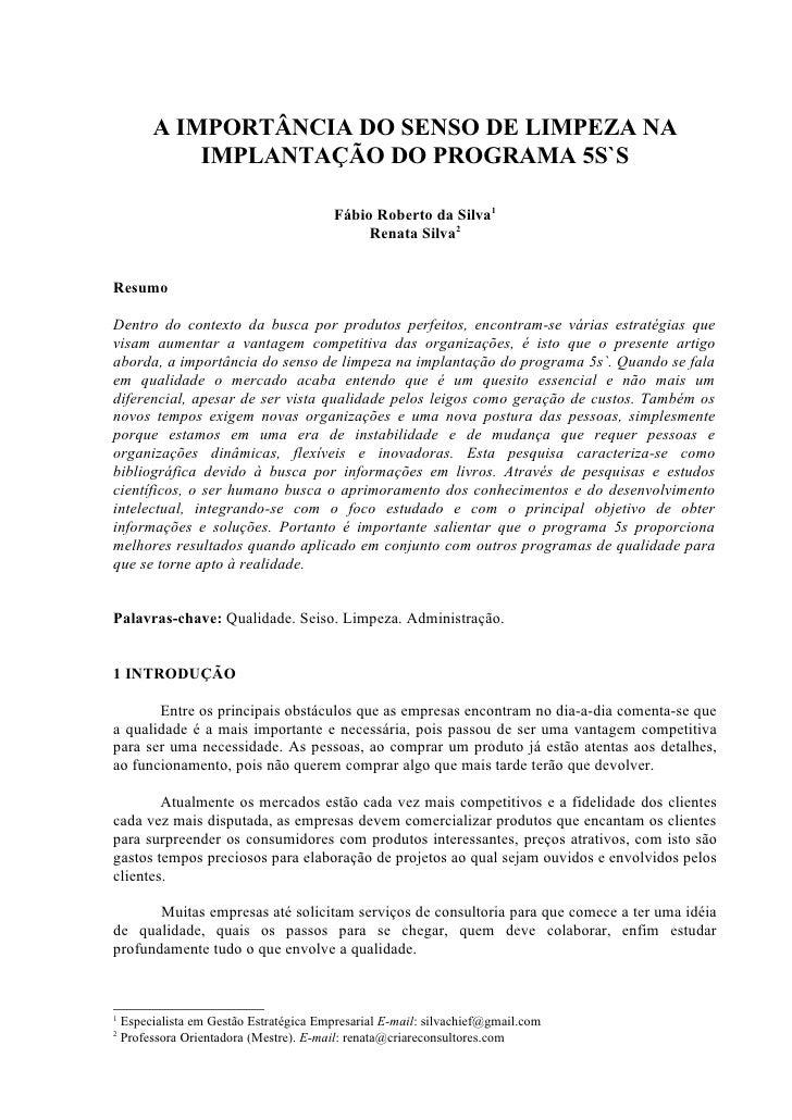 A IMPORTÂNCIA DO SENSO DE LIMPEZA NA              IMPLANTAÇÃO DO PROGRAMA 5S`S                                            ...