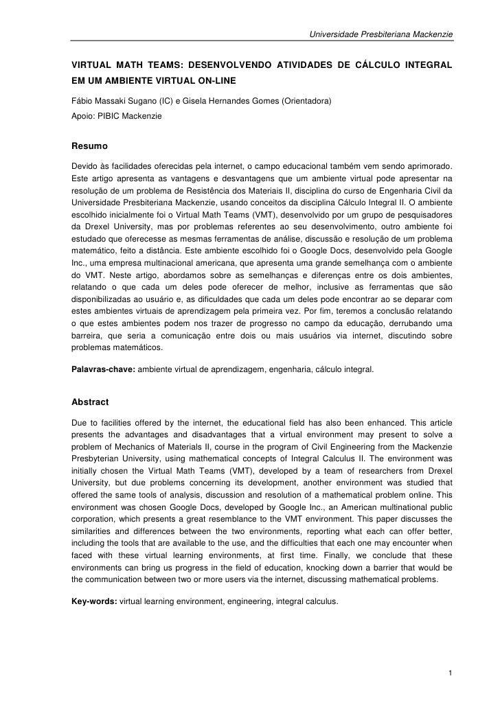 Universidade Presbiteriana MackenzieVIRTUAL MATH TEAMS: DESENVOLVENDO ATIVIDADES DE CÁLCULO INTEGRALEM UM AMBIENTE VIRTUAL...