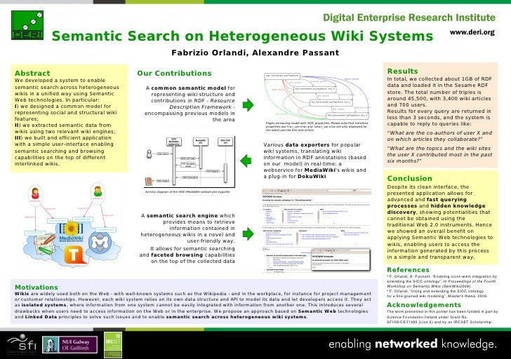 Semantic Search on Heterogeneous Wiki Systems - poster