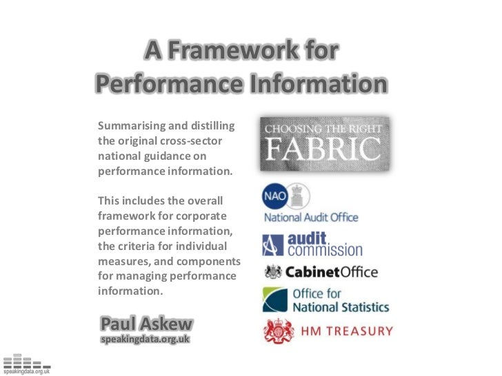 A Framework for<br />Performance Information<br />Summarising and distilling the original cross-sector national guidance o...