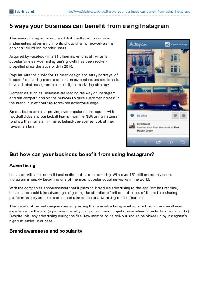 f abric.co.uk http://www.fabric.co.uk/blog/5-ways-your-business-can-benefit-from-using-instagram/ 5 ways your business can...