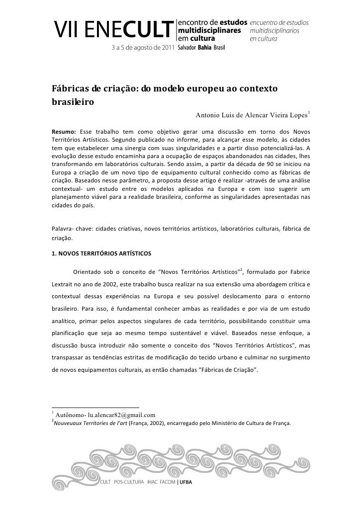 Fábricas de criação: do modelo europeu ao contextobrasileiro                                                         Anton...