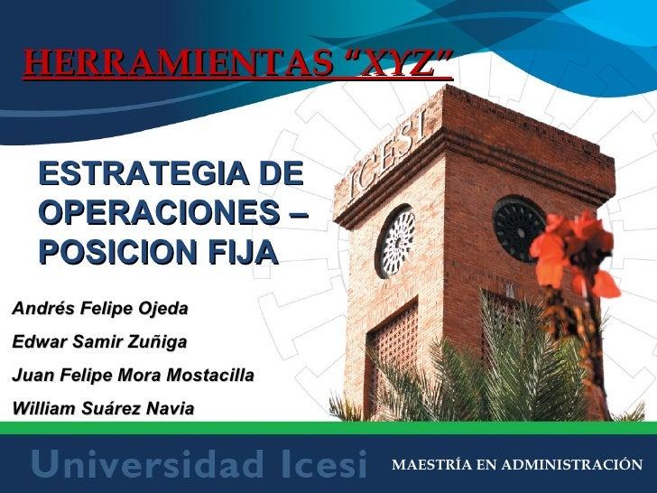 """MAESTRÍA EN ADMINISTRACIÓN HERRAMIENTAS """" XYZ"""" ESTRATEGIA DE OPERACIONES – POSICION FIJA Andrés Felipe Ojeda Edwar Samir Z..."""