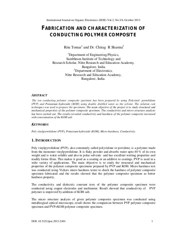 International Journal on Organic Electronics (IJOE) Vol.2, No.3/4, October 2013  FABRICATION AND CHARACTERIZATION OF CONDU...