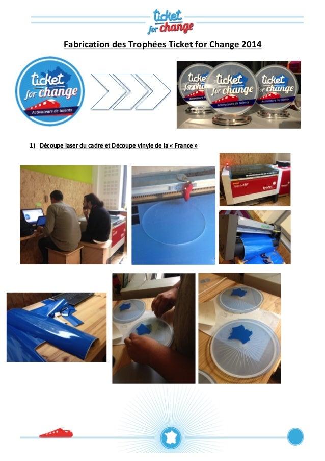 Fabrication  des  Trophées  Ticket  for  Change  2014  1) Découpe  laser  du  cadre  et  Découpe  vinyle  de  la  «  Franc...