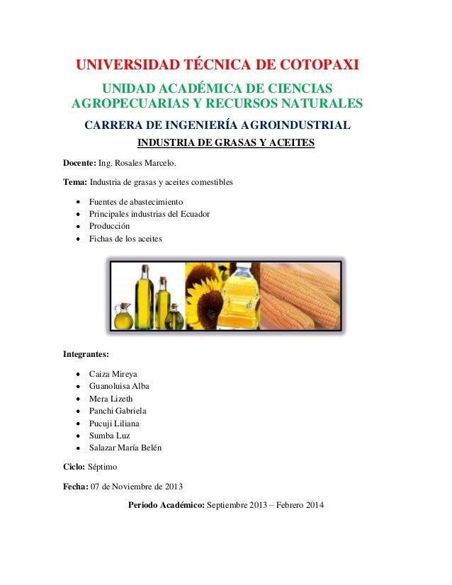UNIVERSIDAD TÉCNICA DE COTOPAXI UNIDAD ACADÉMICA DE CIENCIAS AGROPECUARIAS Y RECURSOS NATURALES CARRERA DE INGENIERÍA AGRO...