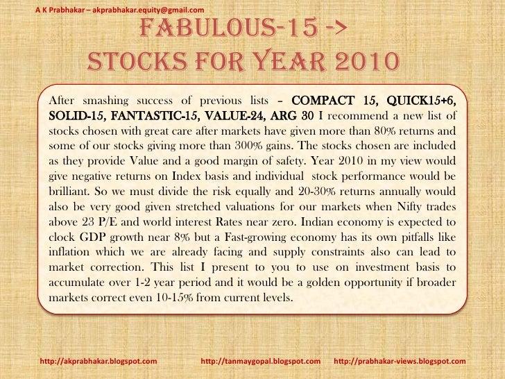 A K Prabhakar – akprabhakar.equity@gmail.com                  fabulous-15 ->              stocks for Year 2010    After sm...