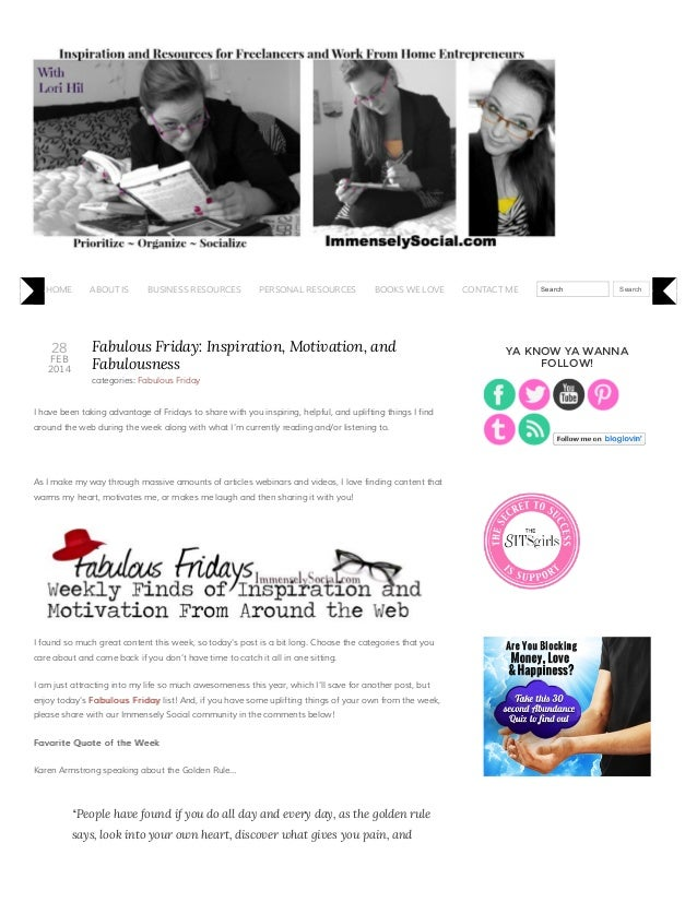 Fabulous Friday: inspiration, motivation, and fabulousness   immensely social