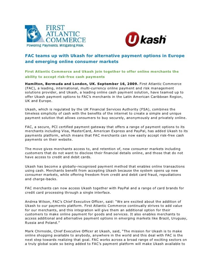 FAC teams up with Ukash for alternative payment options in Europe and emerging online consumer markets
