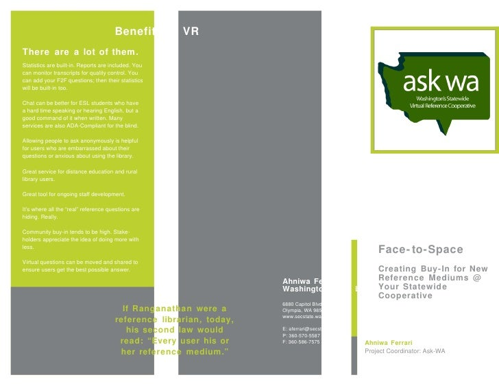 Brochure for Face-to-Space: Creating Buy-in for New Reference Mediums