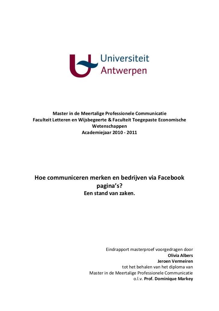 Masterproef over bedrijven en Facebook