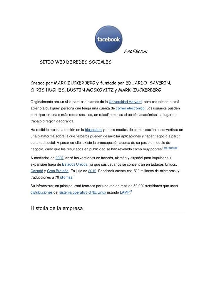 FACEBOOK<br />       SITIO WEB DE REDES SOCIALES <br />Creado...