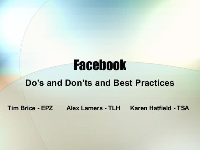 NWS Facebook Do's Don'ts and Tips