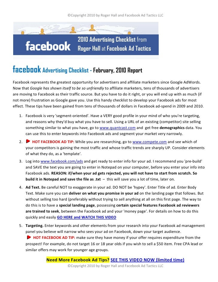 ©Copyright 2010 by Roger Hall and Facebook Ad Tactics LLC                                           2010 Advertising Check...