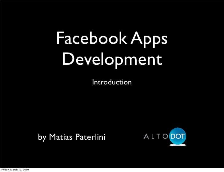 Matías Paterlini: Desarrollo de aplicaciones en Facebook