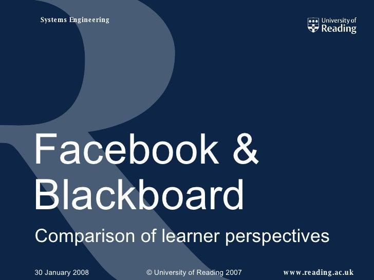 Facebook & Blackboard Comparison of learner perspectives 29 May 2009