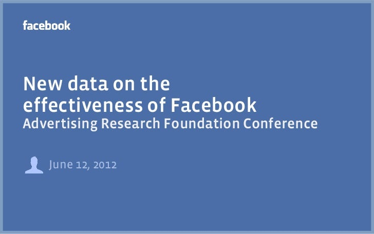 New data on theeffectiveness of FacebookAdvertising Research Foundation Conference   June 12, 2012