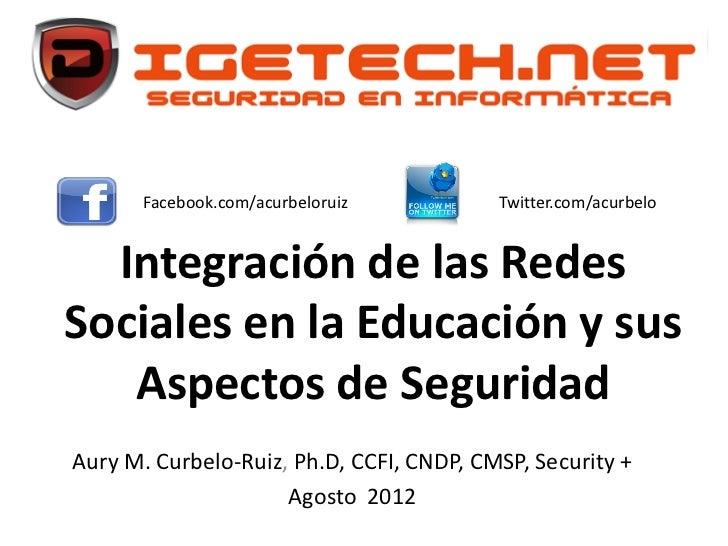 Facebook.com/acurbeloruiz          Twitter.com/acurbelo  Integración de las RedesSociales en la Educación y sus   Aspectos...