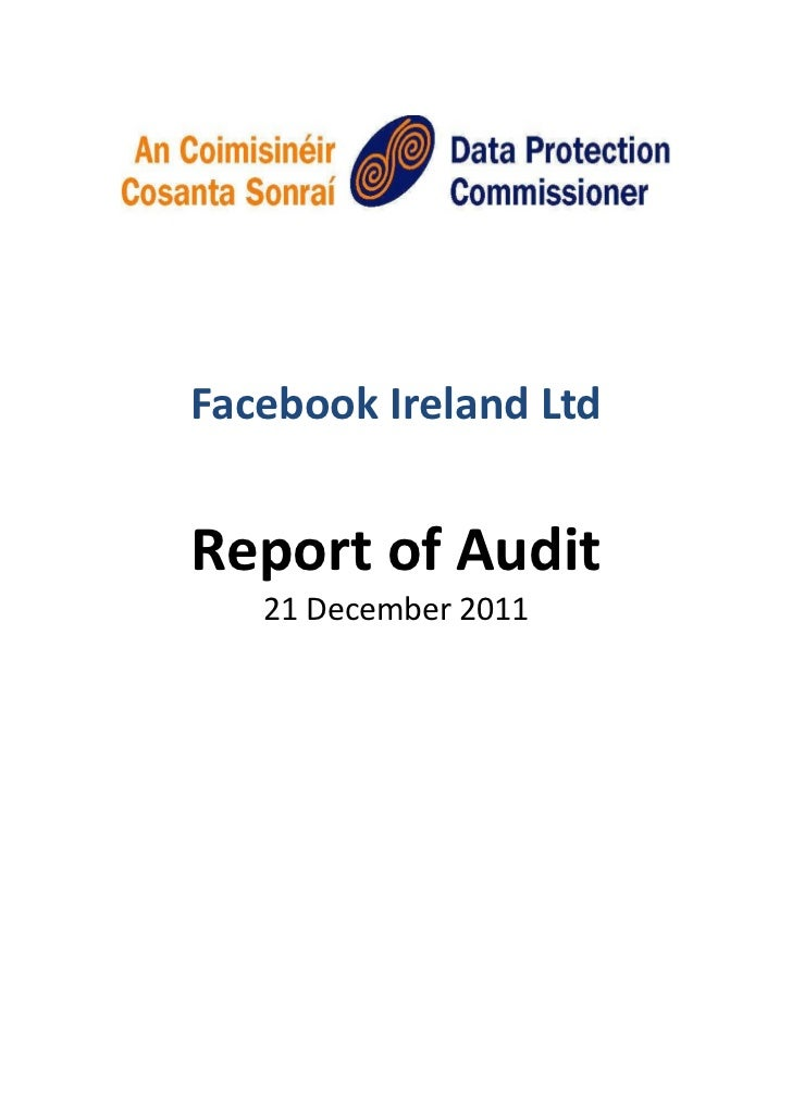 Facebook Ireland Audit Report by the Data Protection Commissioner Ireland
