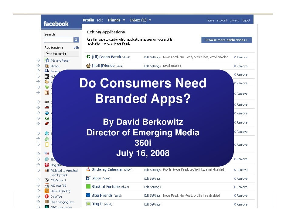 Do Consumers Need   Branded Apps?     By David Berkowitz Director of Emerging Media             360i        July 16 2008  ...