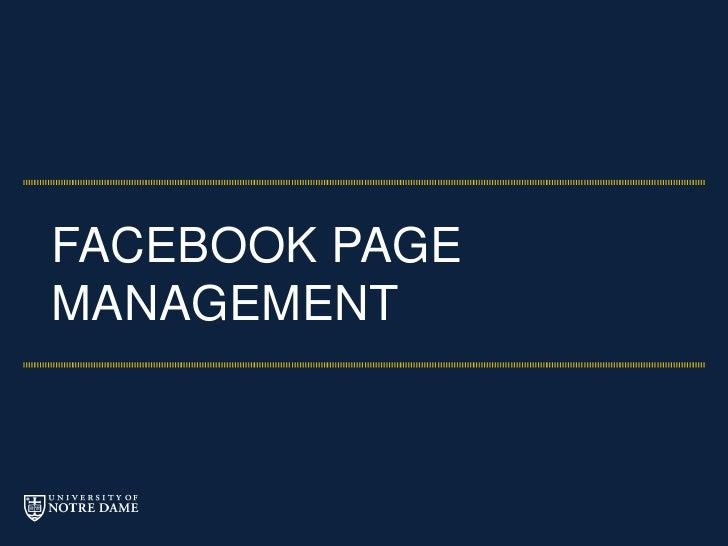 Facebook Page Management Class - University of Notre Dame