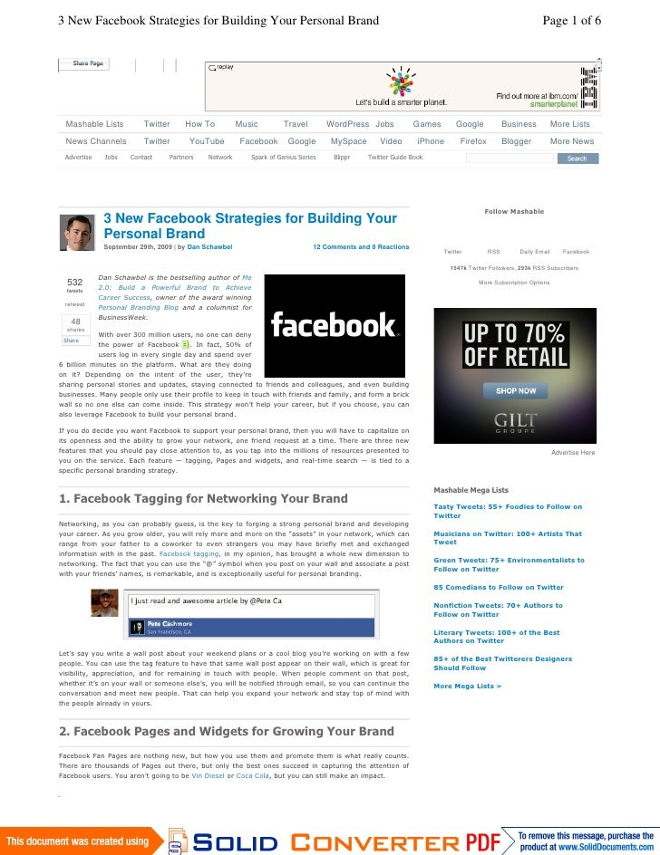 Facebook Personal Brand Strategy