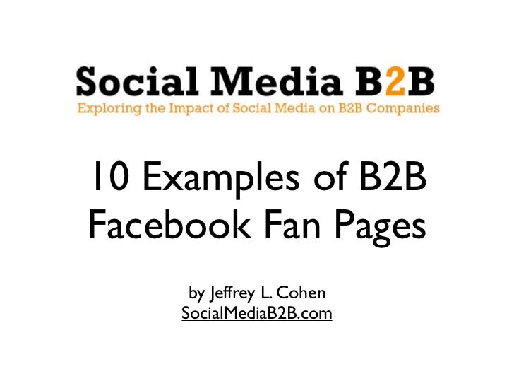 10 Examples of B2B Facebook Fan Pages