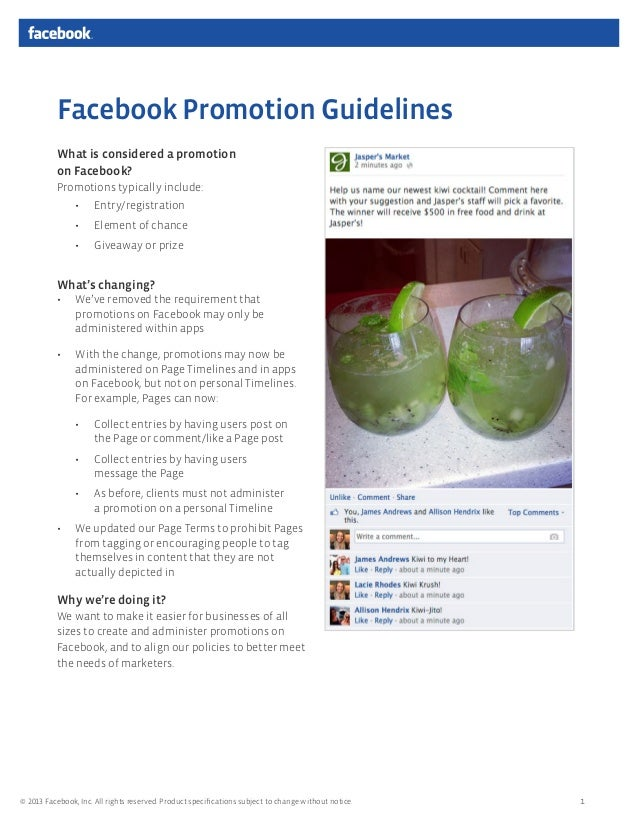 NEW Facebook promotion guidelines