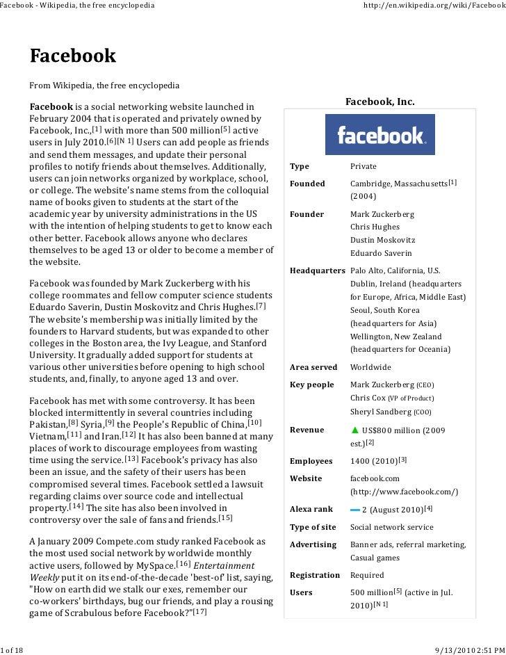 Facebook ‐ Wikipedia, the free encyclopedia                                                    http://en.wikipedia.org/wik...