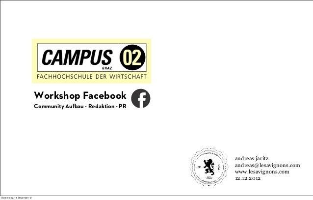 Facebook Workshop Fachhochschule Campus02