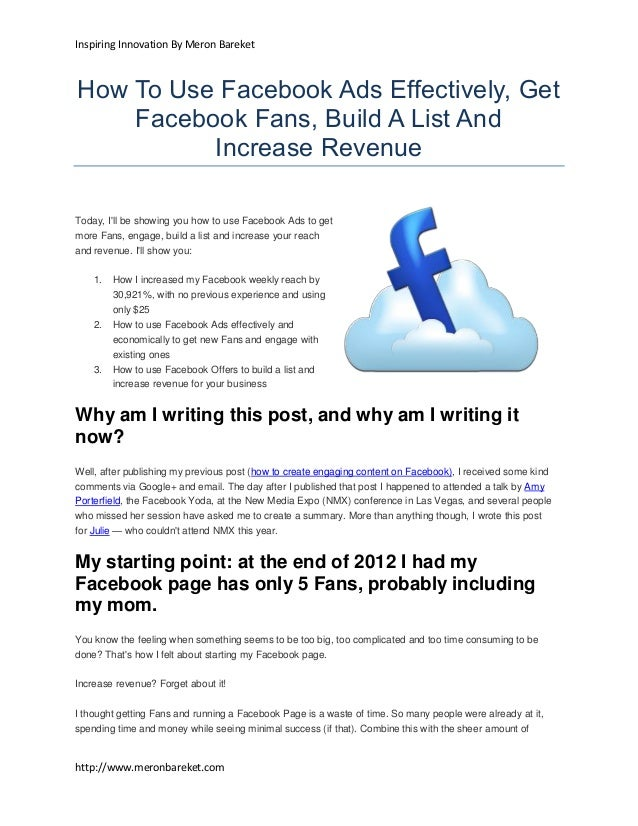 Inspiring Innovation By Meron BareketHow To Use Facebook Ads Effectively, Get    Facebook Fans, Build A List And          ...
