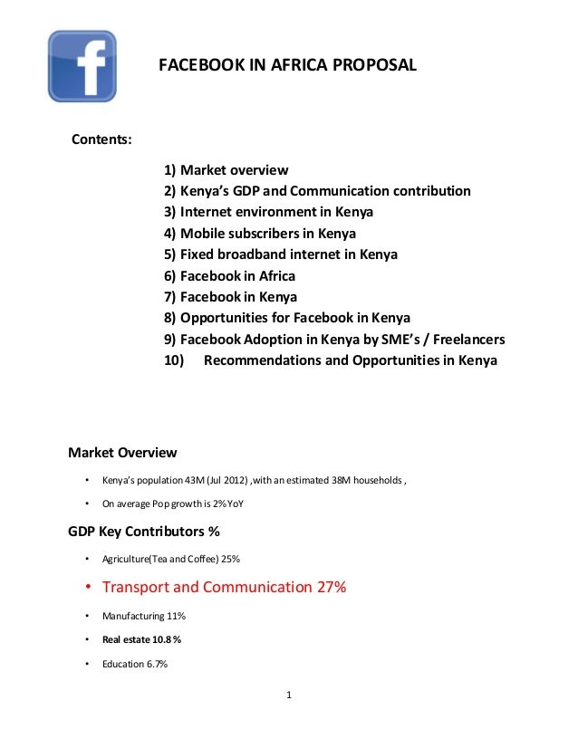 1Contents:1) Market overview2) Kenya's GDP and Communication contribution3) Internet environment in Kenya4) Mobile subscri...