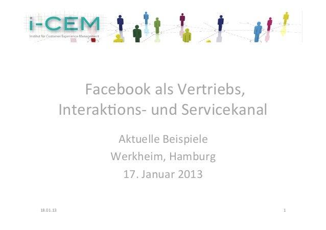 Facebook als Vertriebs, Interaktions- und Servicekanal