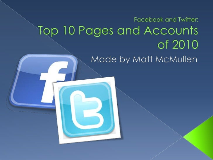 Facebook and Twitter:Top 10 Pages and Accounts of 2010<br />Made by Matt McMullen<br />