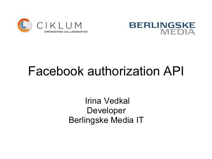 Facebook authorization API (Irina Vedkal)