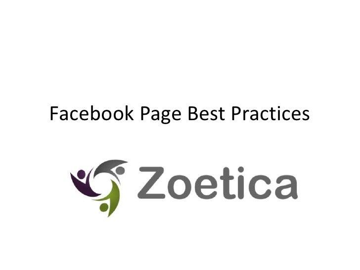 Facebook Page Best Practices<br />
