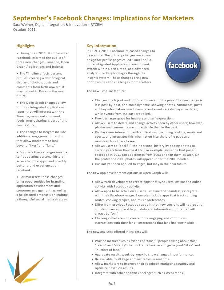 September's Facebook Changes: Implications for MarketersSara Weiner, Digital Integration & Innovation – RTCRMOctober 2011 ...