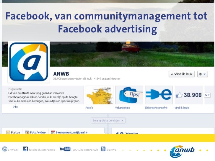 1Facebook, van communitymanagement tot           Facebook advertisinganwb.nl   facebook.com/anwb   youtube.com/anwb   @anwb