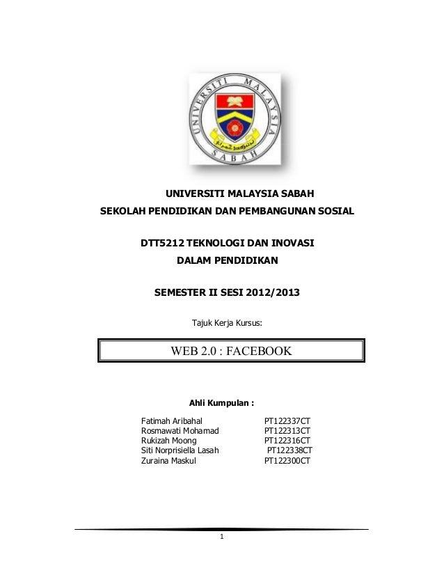 UNIVERSITI MALAYSIA SABAHSEKOLAH PENDIDIKAN DAN PEMBANGUNAN SOSIAL      DTT5212 TEKNOLOGI DAN INOVASI                DALAM...