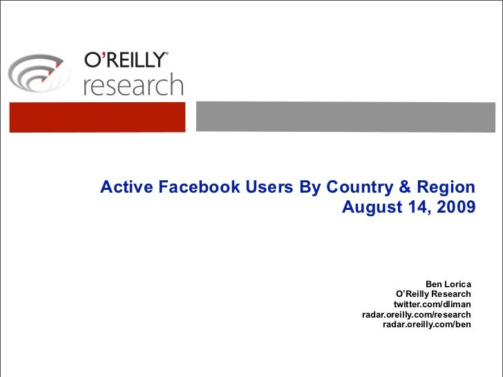 Active Facebook Users By Country & Region: August 2009
