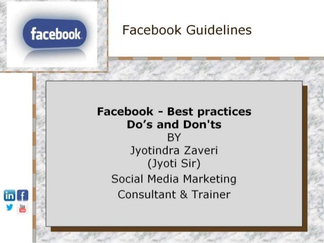 Facebook Do's and Don'ts - social networking sites - best practices social media marketing