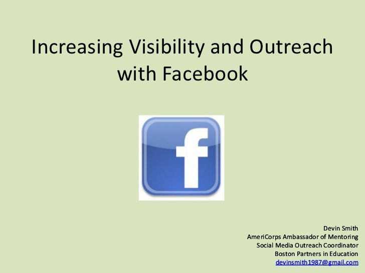 Increasing Visibility and Outreach with Facebook