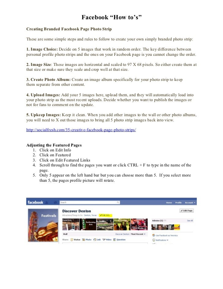 "Facebook ""How to's""Creating Branded Facebook Page Photo StripThese are some simple steps and rules to follow to create you..."