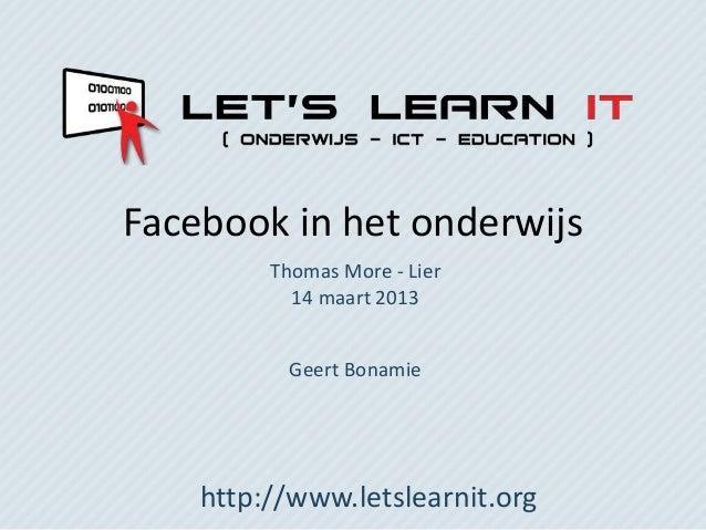 Facebook in het onderwijs